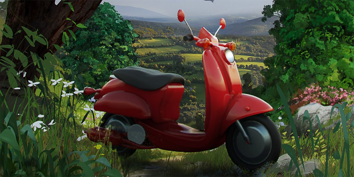 POSTER - SCOOTER IN THE COUNTRY