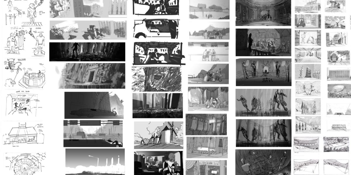 Early sketches and thumbnails